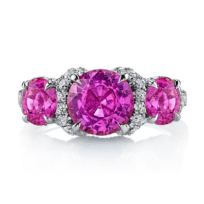 Pink Sapphire & Diamond 3-Stone Ring