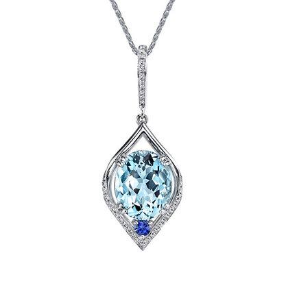 Aquamarine, Sapphire & Diamond Pendant
