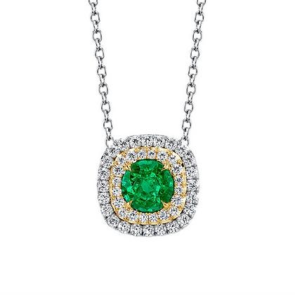 Emerald & Diamond 2-Tone Pendant