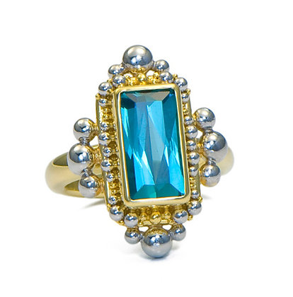 Indicolite Tourmaline Granulated Bezel Ring