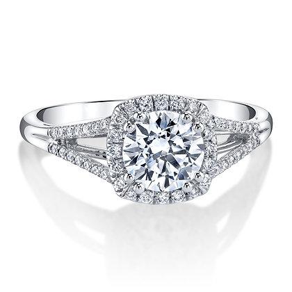 Cushion Halo Split Shank Engagement Ring