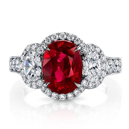 Burmese Oval Ruby & Diamond Ring