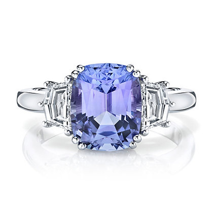 Tanzanite Cushion & Diamond 3-Stone Ring