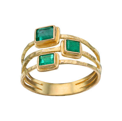 Emerald 3-Row Ring