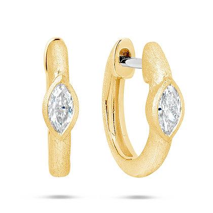 Diamond Marquis Bezel Huggie Earrings
