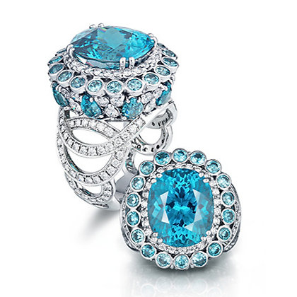Blue Zircon Oval Ring