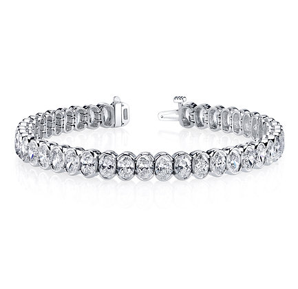 Oval Diamond Half-Bezel Bracelet