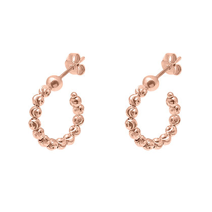 Diamond-Cut Bead Mini Hoops