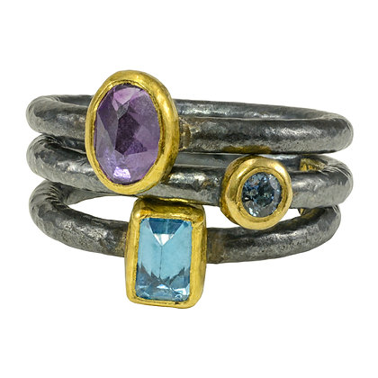 Amethyst & Blue Topaz Stacker Rings