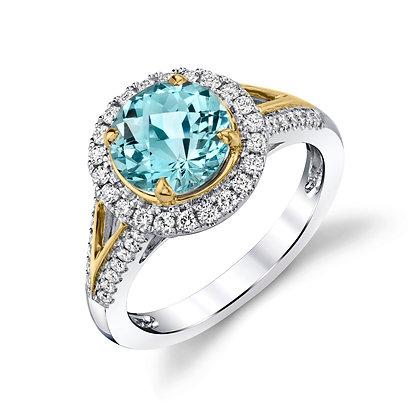 Aquamarine Ring with Diamond Halo