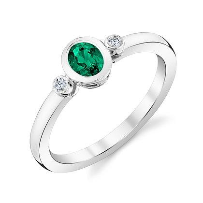 Bezel Set Emerald and Diamond Ring