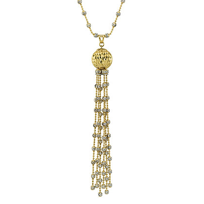 Long Tassel Necklace with Diamond-Cut Bead Chain