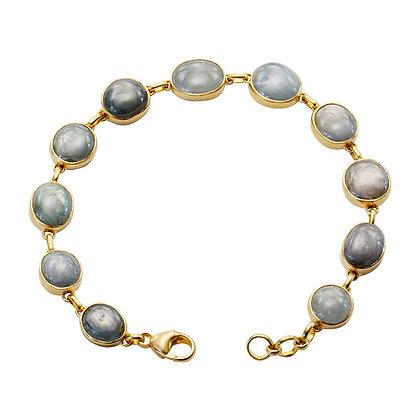 Blue-Grey Sapphire Cabochon Bezel Bracelet