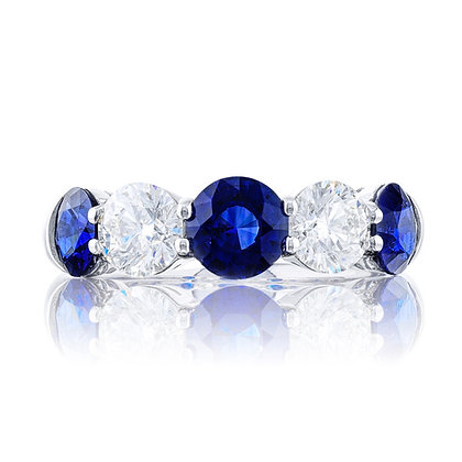 Sapphire & Diamond Alternating Band
