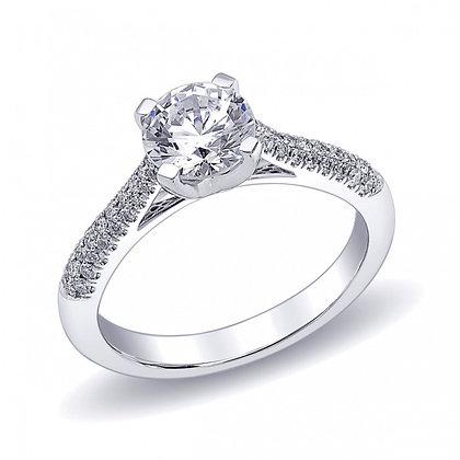 Pavé Diamond Shank Engagement Ring