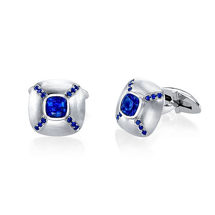 Sapphire Cushion Center Cufflinks