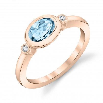 Aquamarine East-West Set Ring