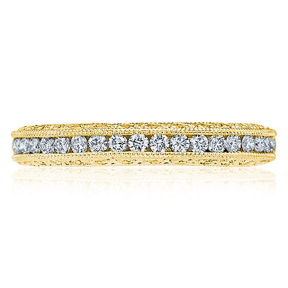 Milgrain Detailed Halfway Diamond Women's Wedding Band
