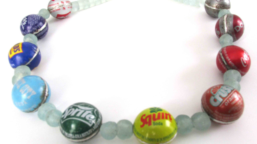Recycled glass and cap necklace