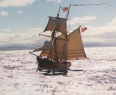 The modern Enterprize sailing off Geelong