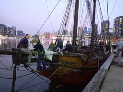 Attaching the Staysail