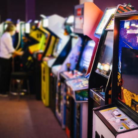 Old Vintage Arcade Games in a dark room