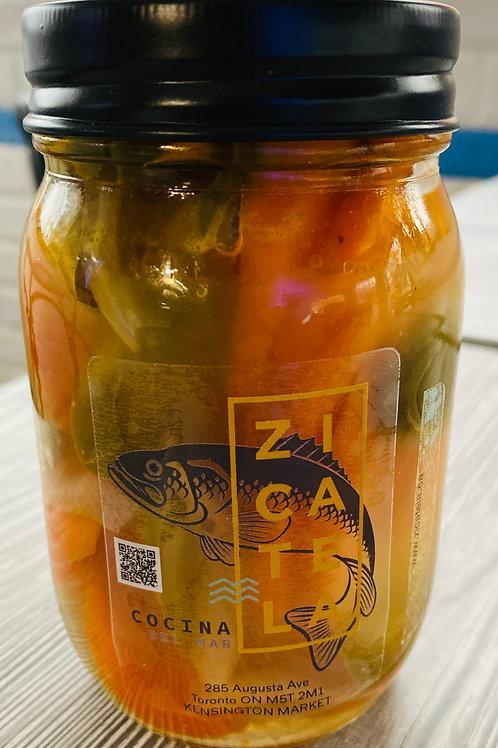 Home-made pickled Jalapeños