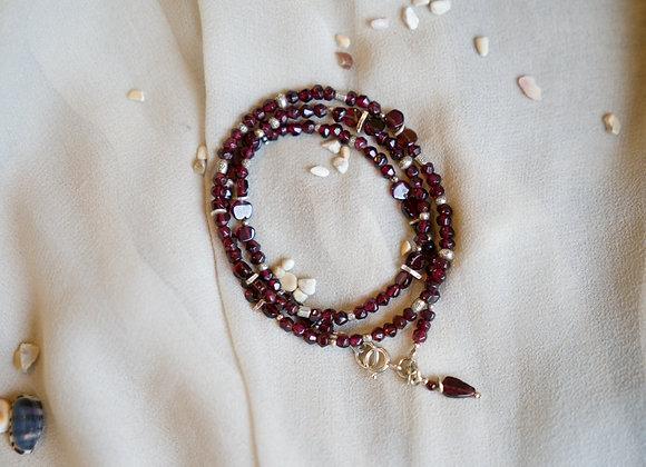 Kombinierte Arm- und Halskette   Granat mit Silber