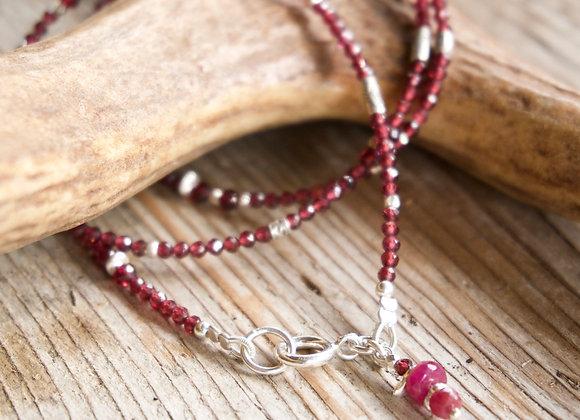Kombinierte Arm- und Halskette | Granat mit Silber