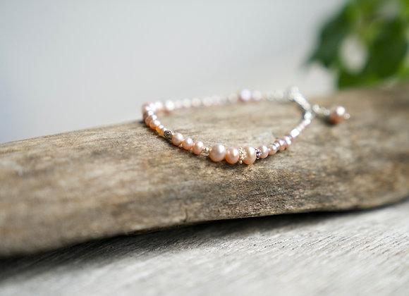 Armband   Lila Perlen   Silber