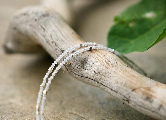 Halskette   Doppelt   Mondstein mit Silber