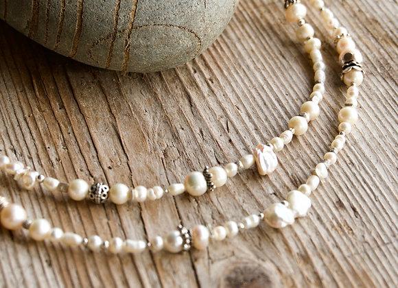 Halskette | Lang | Perlen mit Silber (exkl. Anhänger)