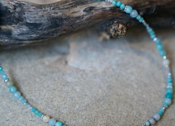 Halskette   Amazonit mit Silber