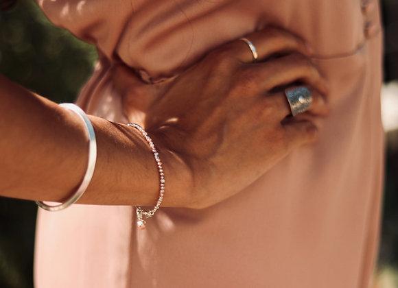 Armband   Lila Perlen fein   Helles Silber