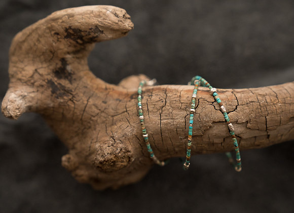 Kombinierte Arm- und Halskette | Türkis mit Silber
