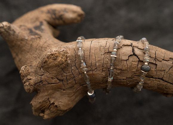 Kombinierte Hals- und Armkette   Labradorit Stein mit Silber
