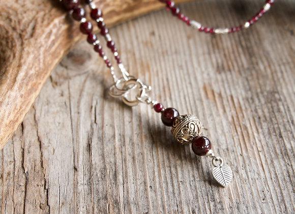 Halskette | Lang | Granat mit Silber (exkl. Anhänger)