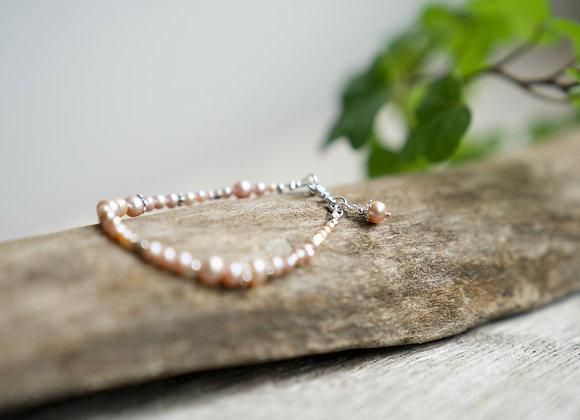 Armband | Lila Perlen | Helles Silber