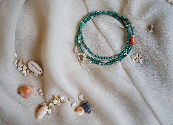 Kombinierte Arm- und Halskette   Malachit mit Silber