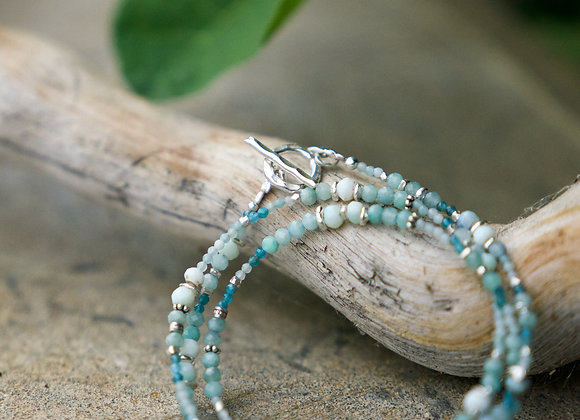 Kombinierte Arm- und Halskette | Amazonit mit Silber