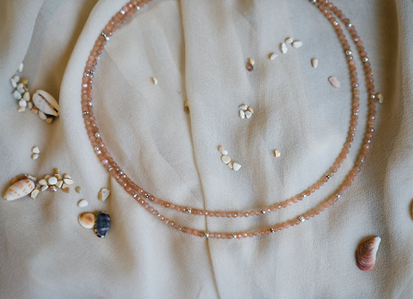 Halskette | Doppelt |  Peach Mondstein mit Silber