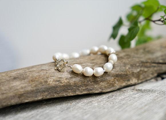 Armband   Weisse Perlen   Helles Silber