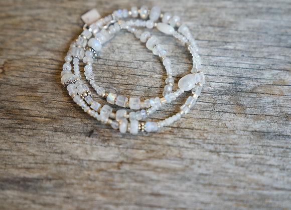 Kombinierte Hals- und Armkette   Mondstein mit Silber