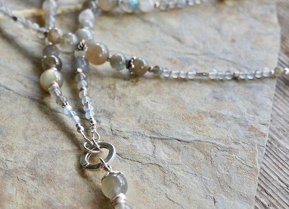 Halskette   Lang   Labradorit mit Silber (exkl. Anhänger)