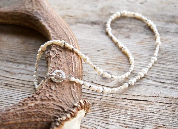 Kombinierte Arm- und Halskette   Perlen mit Silber