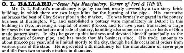 o. l. ballard sewer pipe detroit