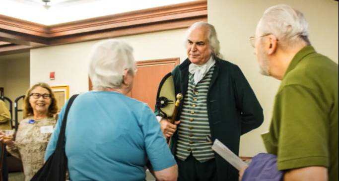 """""""George Washington"""" visits the Friends as part of the bi-annual Betty Grinnan Friends of the Library Program for American History."""