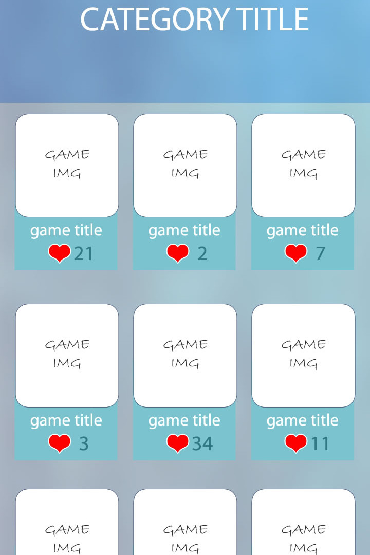 Wireframe for game app
