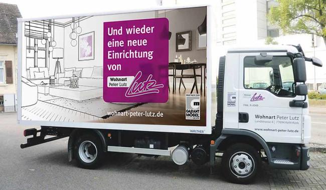 Beispiel einer aufmerksamkeitsstarken LKW-Werbung
