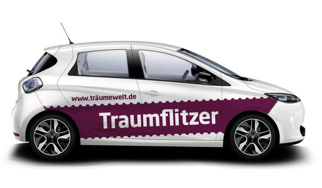 Beispiel einer aufmerksamkeitsstarken Fahrzeugwerbung